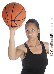Beautiful african american basketball player taking shot