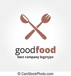 Abstract vector logotype for restaurant concept isolated on...