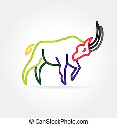 2015 vector goat symbol isolated on white background - Key...