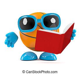 3d Basketball reads a book - 3d render of a basketball...