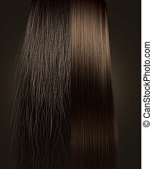 Brown Hair Frizzy and Straight Comparison - A perfect...