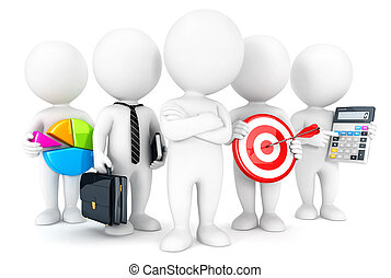 3d white people business concept, isolated white background,...