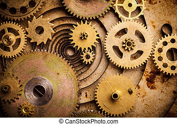 Steampunk background from mechanical clocks details over old...