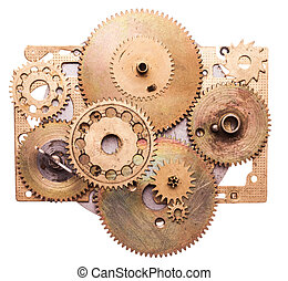 Steampunk device - Steampunk details isolated on white...