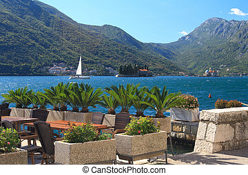 Cafe on the waterfront in Perast, Montenegro - Cafe on the...