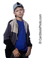 Portrait teenager - Portrait of the teenager in cap on white...