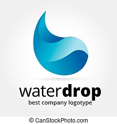 Abstract vector drop logotype concept isolated on white...