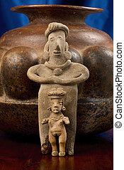 antiquité, pré, Colombien, femme, figures,