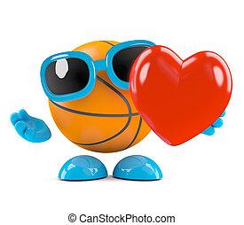 3d Basketball has a heart - 3d render of a basketball...