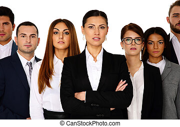Woman leading her team over white background
