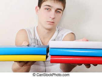 Teenager with the Books
