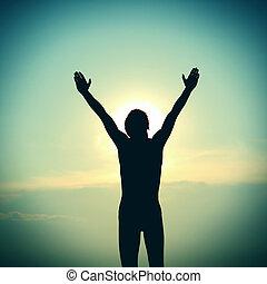 persona, rezando,