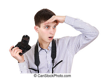 Teenager with Photo Camera - Surprised Teenager with Vintage...