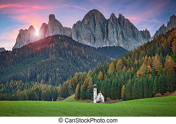 Dolomites. - The little church of S.Giovanni in Ranui,...