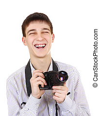 Teenager with Photo Camera - Cheerful Teenager with Vintage...