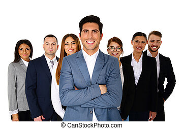 Cheerful man leading his happy team over white background