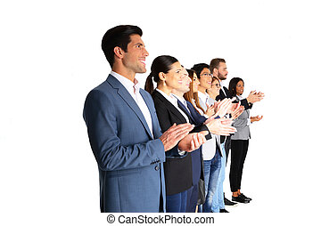 grupo, de, businesspeople, applauding, ,