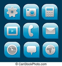 mobile interface icon set