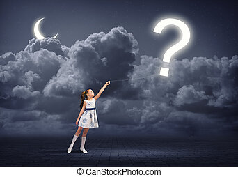 Want know all - Cute girl in dress holding question mark on...