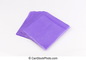 Purple cd paper case or disc sleeve on white background