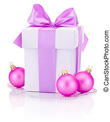 White box tied Pink ribbon bow and three Christmas balls Isolate