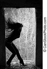 long hair - silhouette of young pretty woman with long hair