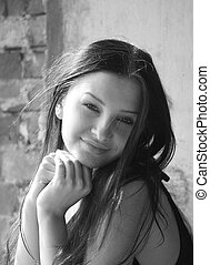 smiling woman - young pretty woman with long hair