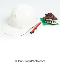 White Helmet with pen and house model