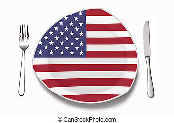 Plate with American flag - Cutlery and a plate with American...