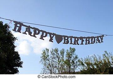 blu, grande, cielo, segno, compleanno, Appeso, Felice