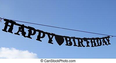 blu, cielo, segno, compleanno, Appeso, Felice