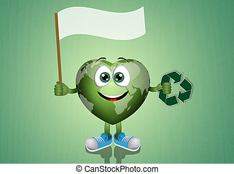 Green earth with recycle symbol