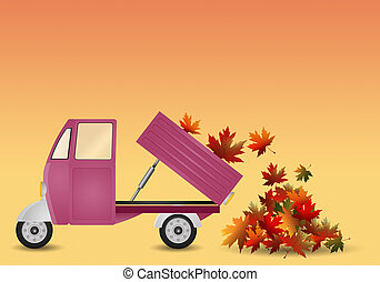 pickup truck with leaves in autumn - illustration of pickup...