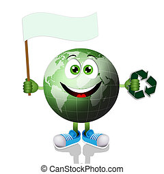 Funny earth with recycle symbol