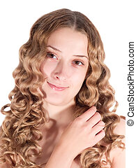 long-haired girl - Portrait of blond long-haired girl...