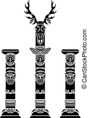 Totem pole with a deer skull and Indian masks