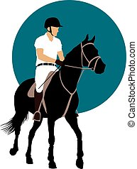 Equestrian sports design - Horse and rider on blue...