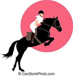 Equestrian sports design - Horse and rider jumping on pink...
