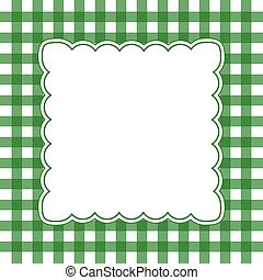 green and white gingham frame - Illustration of green and...