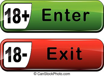 enter and exit web buttons - Illustration of enter and exit...