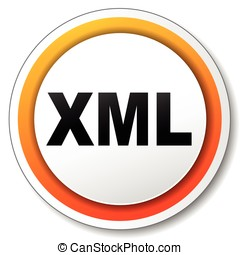 xml orange icon - illustration of xml orange icon on white...