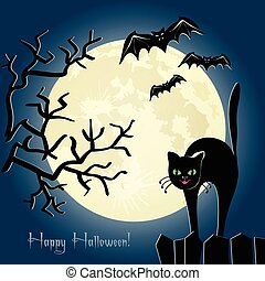 Black cat on a fence in front of the moon