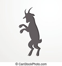 Grey silhouette of a goat - symbol 2015 - Grey silhouette of...