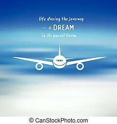 Airplane on a blue sky background
