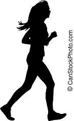 Silhouettes Runners on sprint, women vector illustration
