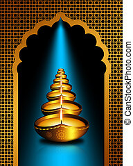 diwali oil lamps over dark background - gold diwali oil...