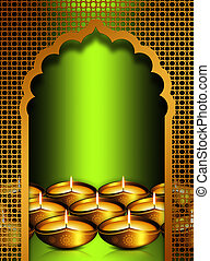 diwali oil lamps overgreen background - gold diwali oil...