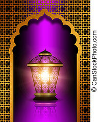 shiny diwali lantern over violet background - shiny diwali...