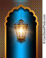 shiny diwali lantern over blue background - shiny diwali...
