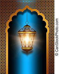 shiny diwali lantern over blue background - shiny diwali...
